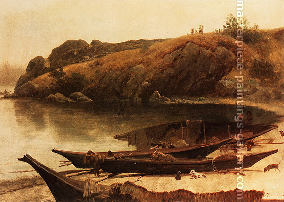 Albert Bierstadt, Canoes, 1870, oil on canvas, 16.9 x 24.1 in. / 42.9 x 61.1 cm, US$335