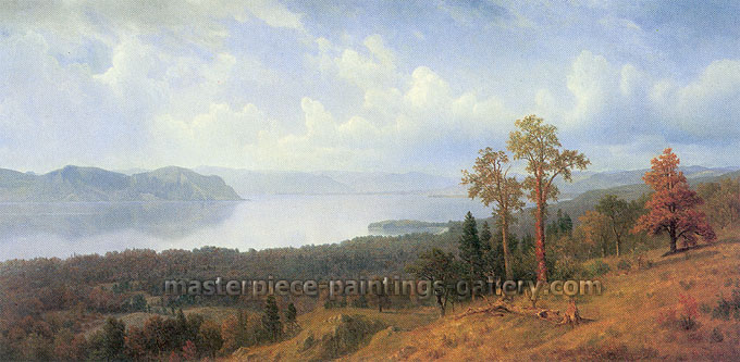 Albert Bierstadt, View of the Hadson Looking Across the Tappan Zee Towards Hook Mountain, 1866, oil on canvas, 36.3 x 71.3 in. / 92.1 x 183.5 cm, US$960