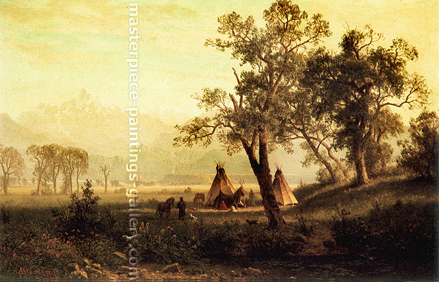 Albert Bierstadt, Wind River Mountains | Nebraska Territory, 1862, oil on canvas, 18 x 27.8 in. / 45.8 x 70.5 cm, US$350