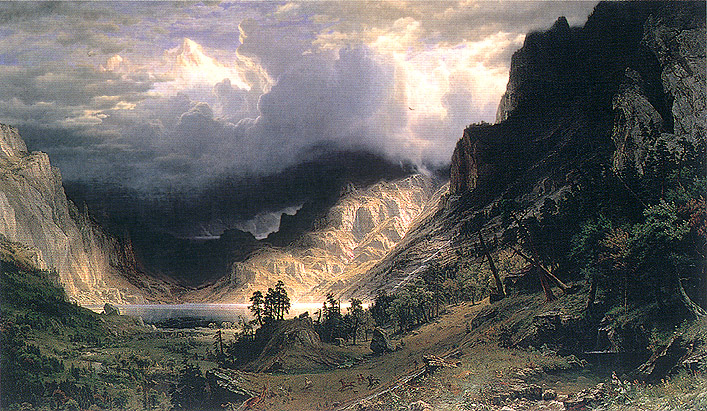 Albert Bierstadt, Storm in the Rocky Mountains, Mt. Rosalie, 1866, oil on canvas, 20.4 x 34.2 in. / 52 x 87 cm, US$500