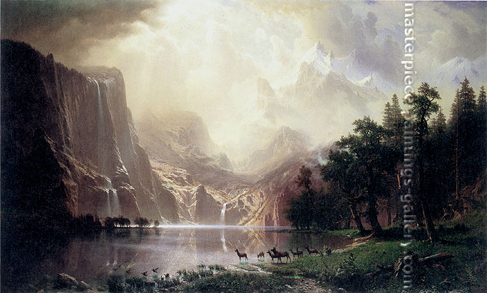 Albert Bierstadt, Among the Sierra Nevada Mountains, California, 1868, oil on canvas, 23.6 x 39.4 in. / 60 x 100 cm, US$550