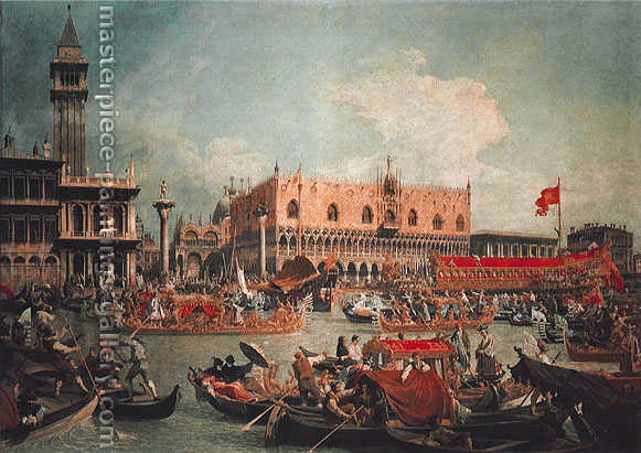 Giovanni Antonio Canaletto | Giovanni Antonio Canal, The 'Bucintoro' by the Molo on Ascension Day, 1729, oil on canvas, 35.9 x 51 in. / 91 x 129.5 cm, US$1,300