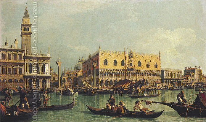 Giovanni Antonio Canaletto | Giovanni Antonio Canal, The Molo and the Piazetta seen from the Bacino di San Marco | Piazetta and the Doge's Palace from the Bacino di San Marco, 1735, oil on canvas, 18.5 x 31 in. / 47 x 78.8 cm (or 40 x 80 cm), US$630