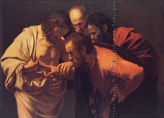 Michelangelo Merisi da Caravaggio, The Doubting of St. Thomas, 1600, oil on canvas, 33.7 x 46 in. / 85.6 x 116.8 cm, US$585