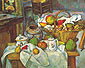 Paul Cezanne, Vessels, Basket and Fruit a.k.a. The Kitchen Table a.k.a. Still Life with Ginger Pot a.k.a. La Table de cuisine, 1888, oil on canvas, 25.6 x 31.9 in. / 65 x 81 cm, US$300