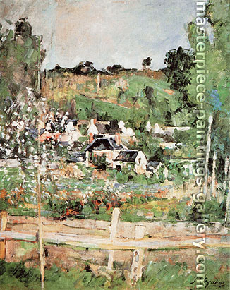 Paul Cézanne, View of Auvers-sur Oise | The Fence, 1873, oil on canvas, 22.3 x 17.3 in. / 56.7 x 44 cm, US$265