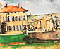 Paul Cezanne, House and Farm at Jas de Bouffan, 1885-87, oil on canvas, 23.6 x 28.7 in. / 60 x 73 cm, US$260