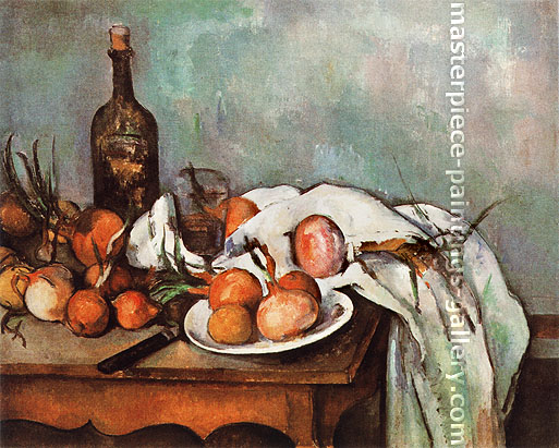 Paul Cézanne, Onions and Bottle, 1895-1900, oil on canvas, 26 x 31.9 in. / 66 x 81 cm, US$290