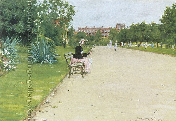 William Merritt Chase, A City Park, 1888, oil on canvas, 13.6 x 19.7 in. / 34.5 x 50 cm, US$265