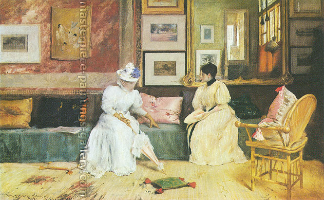 William Merritt Chase, A Friendly Call | a Friendly Visit, 1895, oil on canvas, 30.1 x 48.3 in. / 76.5 x 122.6 cm, US$675