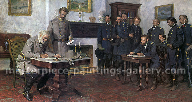 Tom Lovell, Surrender at Appomattox, oil on canvas, 40 x 75.2 in / 101.6 x 191 cm, US$1,060