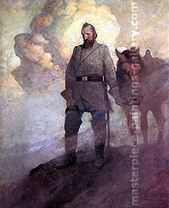 NC Wyeth painting Stonewall Jackson Gazes into Shenandoah Valley, 1910, oil on canvas, 32 x 26 in / 81.3 x 66.3 cm, US$330