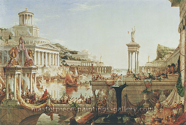Thomas Cole, Course of Empire: Consummation, 1836, oil on canvas, 33 x 49.2 in. / 83.9 x 125 cm, US$1,000