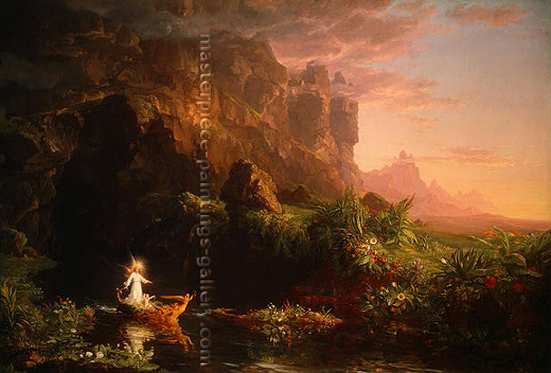 Thomas Cole, Journey of Life - Childhood, 1842, oil on canvas, 15.5 x 23 in./ 58.4 x 39.5 cm, US$460