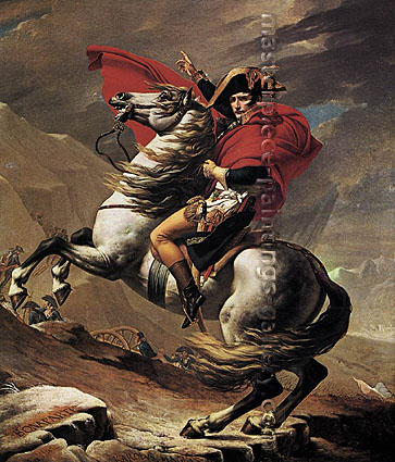 Jacques-Louis David, First Consul Crossing Alps at Grand-Saint-Bernard Pass | Napoleon Bonaparte Crossing St Bernard Pass | Bonaparte at Mont St. Bernard | Napoleon at St. Bernard Pass | Napoleon on Horseback at the St. Bernard Pass, 1801, 84 x 71.1 in. / 213.4 x 180.8 cm, US$1,200