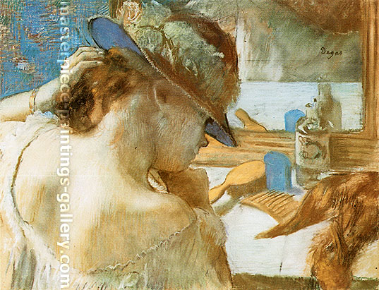 Edgar Degas, At the Mirror, 1889, oil on canvas, 21.6 x 28.2 in. / 54.9 x 71.7 cm, US$280
