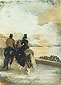 Edgar Degas, Two Riders by a Lake, 1861, oil on canvas, 21.2 x 16 in. / 53.8 x 40.7 cm, US$250