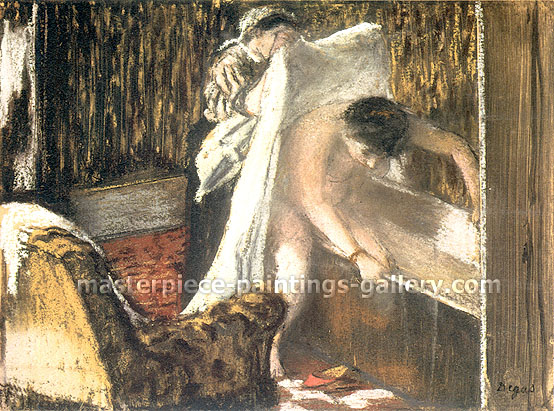 Edgar Degas, Woman leaving her Bath, 1877, oil on canvas, 18.9 x 25.4 in. / 48 x 64.5 cm, US$330
