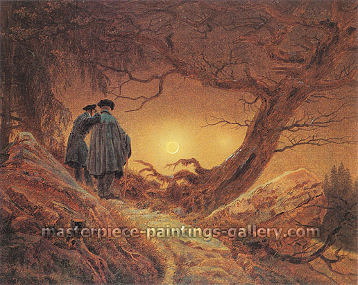 Caspar David Friedrich, Two Men Contemplating the Moon, 1819, oil on canvas, 13.8 x 17.3 in. / 35 x 44 cm, US$400