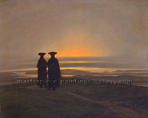 Caspar David Friedrich, Sunset | Brothers, 1830, oil on canvas, 9.8 x 12.2 in. / 25 x 31 cm, US$300