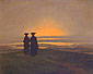 Caspar David Friedrich, Sunset | Brothers, 1830, oil on canvas, 9.8 x 12.2 in. / 25 x 31 cm, US$250