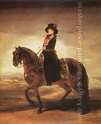 Francisco de Goya, Equestrian Portrait of Maria Luisa, 1799, oil on canvas, 65.9 x 54.9 in. / 167.5 x 139.5 cm, US$670
