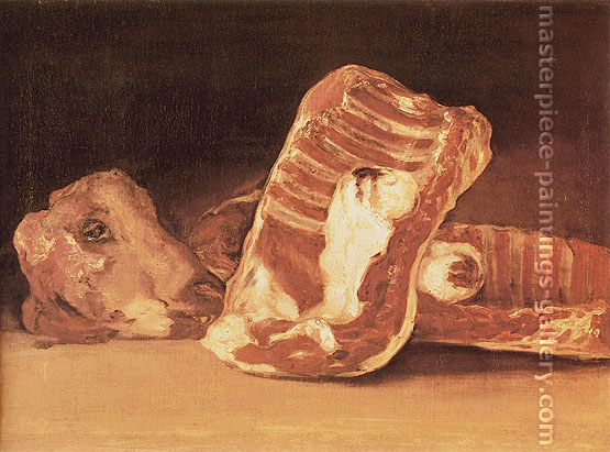 Francisco de Goya, Head and Quarters of the Dissected Ram, 1808-12, oil on canvas, 17.7 x 24.4 in. / 45 x 62 cm, US$320.