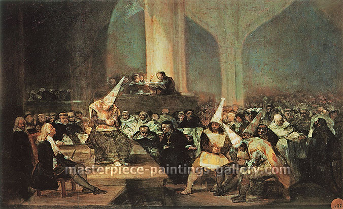 Francisco de Goya, Inquisition Scene, 1815-19, oil on canvas, 18.1 x 28.7 in. / 46 x 73 cm, US$300.