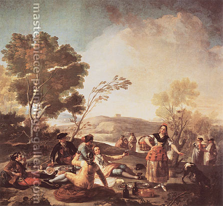 Francisco de Goya, The Picnic, 1779, oil on canvas, 53.5 x 58.1 in. / 136 x 147.5 cm, US$590