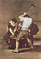 Francisco de Goya, The Smithy | La fragna, 1812-16, oil on canvas, 71.5 x 49.2 in. / 181.6 x 125 cm, US$650.