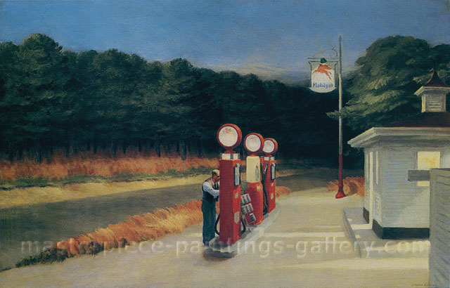 Edward Hopper, Gas, 1940, oil on canvas, 21 x 32 in / 53 x 81.3 cm, US$300