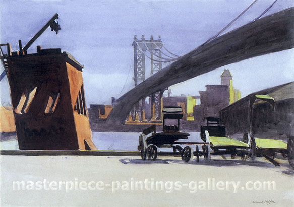 Edward Hopper, Manhattan Bridge, 1925, oil on canvas, 22.4 x 32 in / 57 x 81.3 cm,US$280