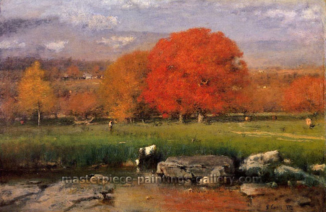 George Inness, Morning, Catskill Valley | The Red Oaks, 1894, oil on canvas, 20 x 30 in. / 89.9 x 136.5 cm, US$650