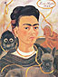 Frida Kahlo, Self-Portrait with Small Monkey, 1945, oil on canvas, 39 x 28.3 in. / 99 x 72 cm, US$390