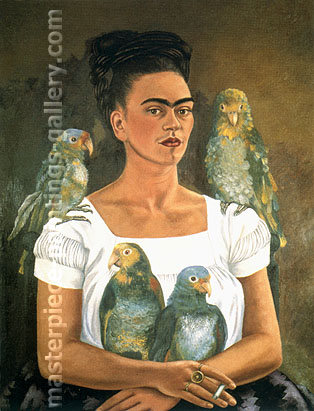 Me and My Parrots, 1941, oil on canvas, 31.3 x 24 in / 79.6 x 61 cm, US$240