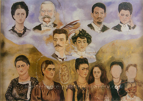 Frida Kahlo, My Family, 1949, oil on canvas, 16 x 23.3 in. / 40.7 x 59 cm, US$350