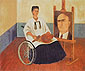 Frida Kahlo, Self-Portrait with a Portrait of Dr. Farill | Self-Portrait with Dr.Juan Farill, 1951, oil on canvas, 21.2 x 25.6 in. / 54 x 65 cm, US$275