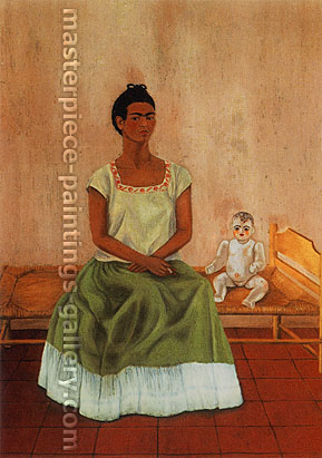 Frida Kahlo, Self-Portrait Sitting on the Bed | My Doll and I, 1937, oil on canvas, 23.6 x 18.3 in. / 60 x 46.5 cm, US$280