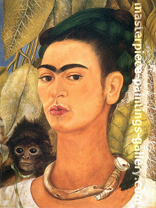 Frida Kahlo, Self-portrait with Monkey, 1938, oil on canvas, 24 x 18 in / 61 x 45.8 cm, US$250