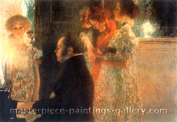 Gustav Klimt, Schubert at Piano, 1899, oil on canvas, 35.4 x 24.3 in. / 90 x 61.7 cm, US$480