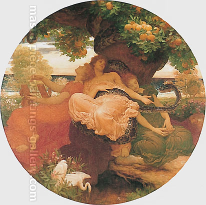Lord Frederic Leighton, The Garden of the Hesperides, 1892, oil on canvas, 66.5 x 66.5 in. / 169 x 169 cm, US$840