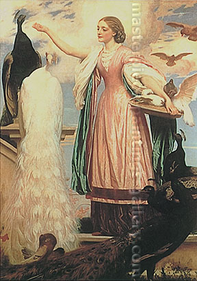 Lord Frederic Leighton, A Girl Feeding Peacocks, 1863, oil on canvas, 74 x 63 in. / 188 x 160 cm, US$940