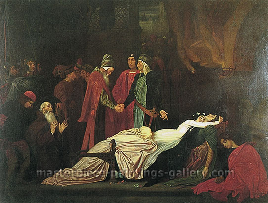 Lord Frederic Leighton, The Reconciliation of the Montagues and Capulets over the Dead Bodies of Romeo and Juliet, 1853-5, oil on canvas, 45.5 x 59.1 in. / 115.6 x 150.2 cm, US$780