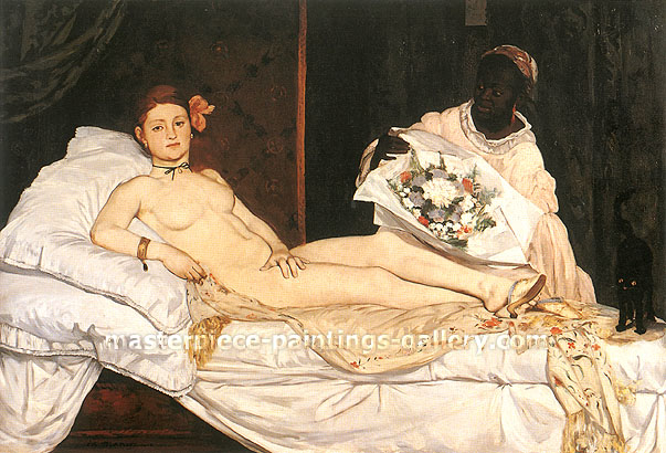 Edouard Manet, Olympia, 1863, oil on canvas, 51.4 x 74.8 in. / 130.5 x 190 cm, US$850