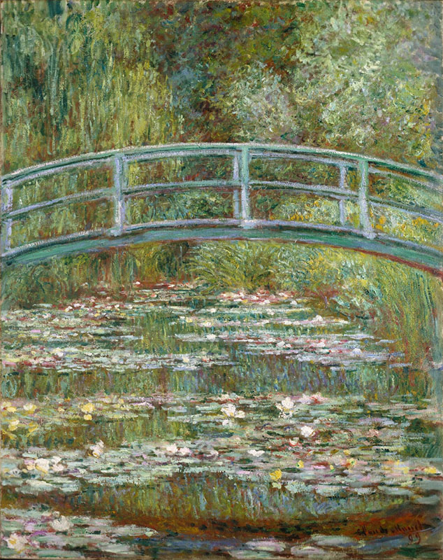 Claude Monet, The Japanese Bridge | Bridge over a Pool of Water Lilies | Le Bassin des nympheas, 1899 (W 1518) oil on canvas, 36.5 x 29 in. / 92.7 x 73.7 cm, US$535