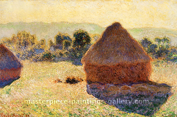 Claude Monet, Grain Stacks at Noon | Stacks of Wheat, Summer Afternoon (W 1267), 1890, oil on canvas, 25.7 x 39.5 in. | 65.4 x 100.3 cm, US$550