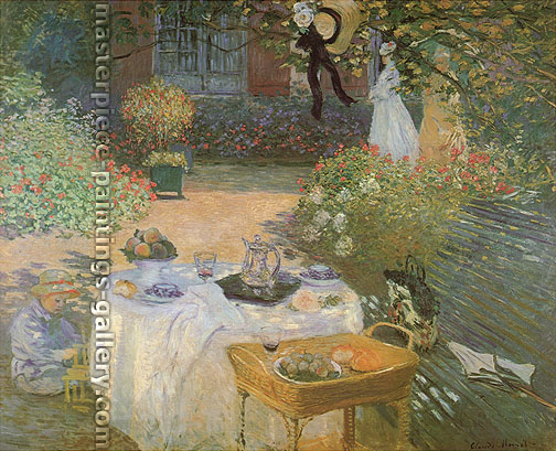 Claude Monet, The Lunch; Decorative Panel | The Luncheon | Le dejeuner (panneau decoratif) | Monet's Garden at Argenteuil (W 285), 1873, oil on canvas, 31.8 x 40 in. / 80.9 x 101.6 cm, US$600
