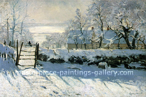 Claude Monet, Magpie (W 133), 1869, oil on canvas,  36 x 52.6 in / 91.4 x 133.6 cm, US$740