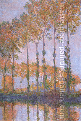 Claude Monet, Poplars along the Epte River, Autumn, 1891, oil on canvas, 39.4 x 25.6 in. / 100 x 65 cm, US$550