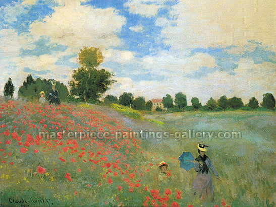 Claude Monet, Poppy Field at Argenteuil | Poppies at Argenteuil | Wild Poppies | Les Coquelicots a Argenteuil, 1873 (W 274) oil on canvas, 19.7 x 25.6 in. / 50 x 65 cm, US$360